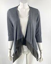 Studio Works Cardigan Sweater Sz Medium Petite Gray Chiffon Trim Open Front Top