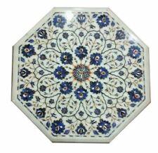 "18"" Inlay LapisLazuli Work White Marble Corner Table Top Home & Garden Decor"