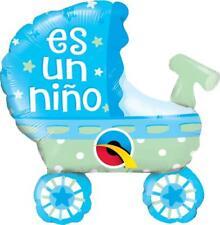 """Qualatex Es Un Nino Cochecito de bebe Azul 14"""" Mini Globo en el Palo"""