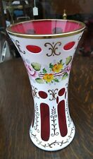 Antique Bohemian hand painted Overlay  Cut to Cranberry glass Vase Ex Condition
