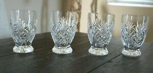 """Waterford Crystal Hospitality 4 Small FOOTED TUMBLERS Pineapple Design 4-3/4"""""""