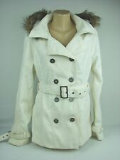 NEW Rue 21 Wool Blend White Winter Pea Coat Hood Faux Fur Women XL Satin Lined