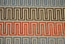 Orange Brown Grey Geometric Chenille Upholstery Fabric