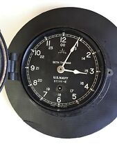 Seth Thomas WW2 Era Deck Clock Vintage Bakelite  US Navy Working Military Clock