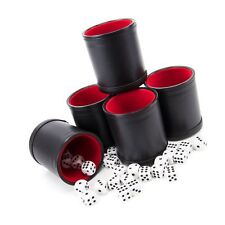 Bundle of 5 Professional Dice Cups – Red Felt-lined Quality Bicast Leather