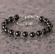 Shungite bracelet made with 925 sterling silver, beads 8mm, Healing & Protection