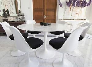 120cm White Carrara Marble Circular Tulip Style Table & 6 Tulip Style Chairs