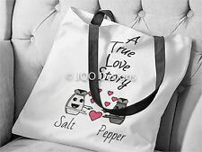 Womens Cotton & Polyester Hand Sewn 15inch Tote Bag: Cute Salt Pepper Love Story