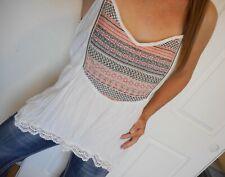 MAURICES Plus Tank Top Womens 2 White Sleeveless Crochet Trim