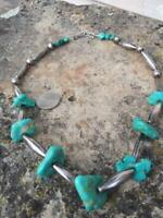 Vintage Navajo Sterling Melon and Bench Bead Turquoise Native American Necklace