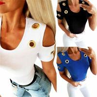 Women  Eyelet  T-Shirt Tops  Slim  Fit   Short  Cold  Sleeve Blouse  Shoulder