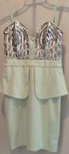 New Lipsy London Mint Sequined Adjustable Removeable Strap Dress Sz 6