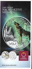Österreich 3 Euro Wolf 2017 nur Flyer no coin   Eiamaya