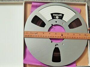 """Vtg MAXELL Aluminum 10 1/2"""" (10.5"""") Aluminum Metal Reel w/ Full 1/4"""" Tape MUSIC"""