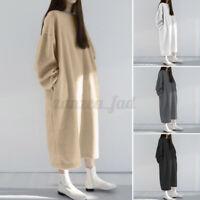 ZANZEA 8-24 Women Warm Knit Fleece Long Maxi Dress Pullover Sweater Jumper Dress