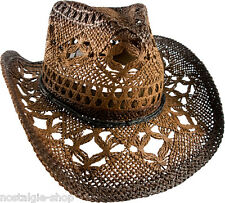 Cowboy Hat Straw Hat Tex Mex Western Has Country Hat Trapper Cap brown