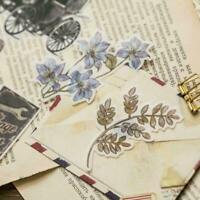 60* Creative Vintage Floral Plant Sticker Pocket Book DIY Kawaii F0X5