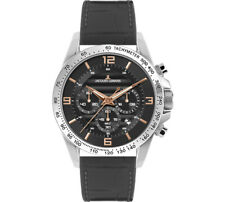 Jacques Lemans Woman's Liverpool 36mm Gray Dial Leather Chronograph Watch