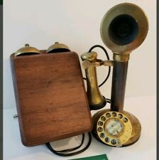 ANTIQUE UNION TELEPHONE BRASS CANDLESTICK TELEPHONE WITH WOOD RINGER BOX