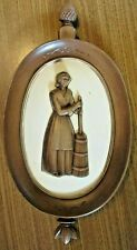 Vintage Hanging Syroco Colonial Oval Wall Plaque Woman Butter Churn Brown Cream