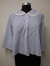 vtg Sailor Midi Blouse Bed Jacket Blue White Checked Handmade Women's  XL 14 16