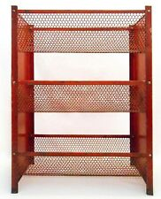 MID-20TH C VINT INDUSTRIAL RED PNTD 3 TIER SHELF SHEET METAL/CURVED SCREEN RACK