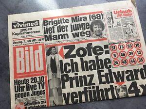 BILDzeitung 07.06.1983 Juni 7.6.1983 Geschenk 36. 37. 38. 39. 40. Geburtstag