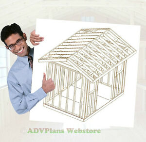 8X12 CLASSIC GABLE ROOF WOOD SHED PLANS, 26 PLANS, BUILD A CUSTOM SHED CD
