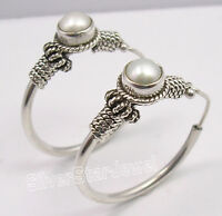 "925 Solid Silver Amazing AAA PEARL LADIES' TRIBAL HOOP Earrings 1.2"" HANDWORK"