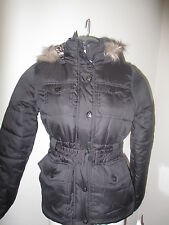 Dollhouse Faux Fur Trim Hooded Coat Belted XS Black NWT