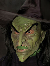 Evil Green Witch Latex Mask Wig & Hat Halloween Ultimate Mask Moving Mouth