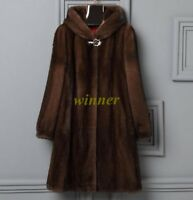 6XL Women Mink Fur Long Coat Hooded Overcoat Jacket Winter Warm Outwear Plus Sz