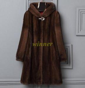 6XL Women Mink Fur Long Coat Hooded Overcoat Jacket Winter Warm Outwear Plus Sz