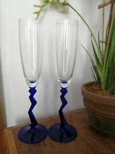 Schott Zwiesel Pair Glass Champagne Flutes With Cobalt Blue Zig Zag Stems