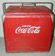 "Vintage 1950's ""Drink Coca-Cola"" Coca-Cola Red Metal Cooler Ice Chest w/ Tray"