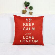 1x Vintage Pillow Case London Composite Linen Red Scatter Cushion Cover 42x42cm