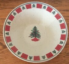 "Folk Craft Holiday Homecoming Stoneware 9"" Serving Bowl Dish w/ Christmas Trees"