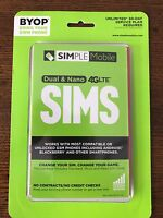 SIMPLE Mobile BYOP 4G LTE SIM Kit Fits All Phones Standard Micro and Nano