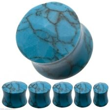 PAIR-Stone Turquoise Faceted Double Flare Ear Plugs 08mm/0 Gauge Body Jewelry