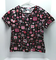 SB Scrubs Womens scrub top Black Pink Red Hearts Size Small