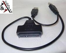 "Adapter Dual USB SATA 7+15Pin doppel USB Konverter Kabel 2.5"" Festplatte HDD SSD"
