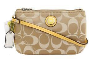 New NWT Coach Poppy Khaki & Sunflower Yellow Signature & Leather Wristlet 47020