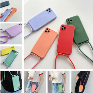For iPhone 11 12 Pro Max XR XS X 8 7 Liquid Silicone Square Case Cover + Lanyard