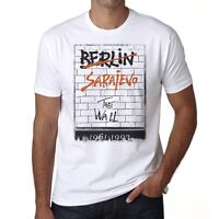 Sarajevo The Wall Tshirt, Homme T-shirt, Blanc, Col Rond Homme T-shirt
