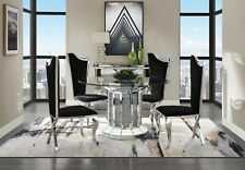 Acme Furniture Noralie Mirror Stainless Steel 5 Piece Dining Room Set