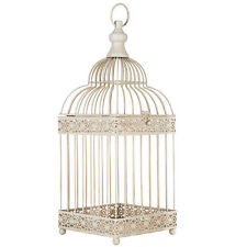 ANTIQUE WHITE METAL BIRD CAGE WEDDING DECOR CANDLE HOLDER FLORAL ARRANGEMENT