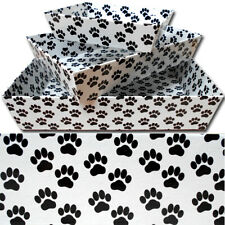 10 x Gift Basket Hamper Printed Cardboard Tray - DOG CAT PUPPY PAW PRINTS DESIGN