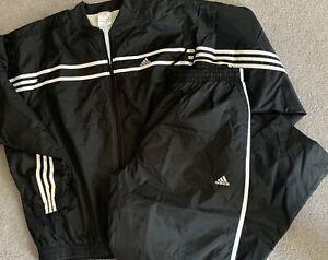 NEW Adidas 3 Stripe Track Suit Black/White  Jacket Pants Size Large