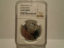1966 CANADA SILVER DOLLAR LARGE BEADS NGC PL 66 CAMEO