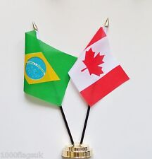 Brazil & Canada Double Friendship Table Flag Set